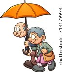 elderly couple walking with an... | Shutterstock .eps vector #714179974