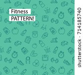 doodle health and fitness icons ... | Shutterstock .eps vector #714185740
