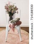 rustic styled vase of flowers... | Shutterstock . vector #714188530