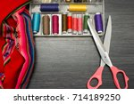 sewing background  tailoring... | Shutterstock . vector #714189250