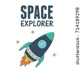 rocket illustration. space... | Shutterstock .eps vector #714189298