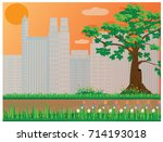 the park with city vector design | Shutterstock .eps vector #714193018