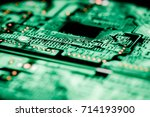 close up of mainboard computer. | Shutterstock . vector #714193900