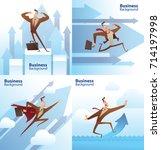 vector set of cartoon images of ... | Shutterstock .eps vector #714197998