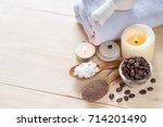 coffee powder and salt scrub ... | Shutterstock . vector #714201490