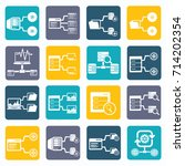 database and network icon set... | Shutterstock .eps vector #714202354