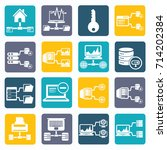 database and network icon set... | Shutterstock .eps vector #714202384