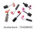 lip gloss applicator and drops... | Shutterstock . vector #714208453