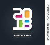 happy new year 2018. vector...   Shutterstock .eps vector #714208660