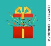 vector. opened gift box ... | Shutterstock .eps vector #714212584