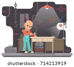 old furniture maker hammers... | Shutterstock .eps vector #714213919