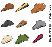 vector set of bicycle saddle | Shutterstock .eps vector #714214288
