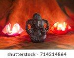 happy ganesh chaturthi greeting ... | Shutterstock . vector #714214864