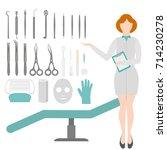 beauty salon. dermatologist... | Shutterstock .eps vector #714230278