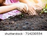 little child girl hand prepare... | Shutterstock . vector #714230554
