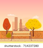 autumn park  bench in the... | Shutterstock .eps vector #714237280