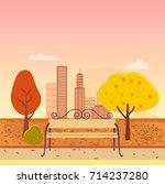 autumn park  bench in the... | Shutterstock .eps vector #714237280