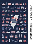 taiwan travel symbol collection ... | Shutterstock .eps vector #714237814