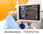close up of heart monitor in... | Shutterstock . vector #714241714