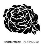 flower rose  monochrome.... | Shutterstock .eps vector #714243010