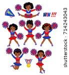 cheerleadears team of girls ... | Shutterstock .eps vector #714243043