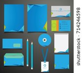 blue stationery template design ... | Shutterstock .eps vector #714246598