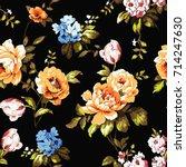 shabby chic vintage roses ...   Shutterstock .eps vector #714247630
