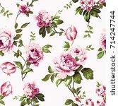 shabby chic vintage roses ... | Shutterstock .eps vector #714247744