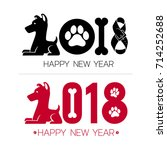 happy new year 2018. text... | Shutterstock .eps vector #714252688