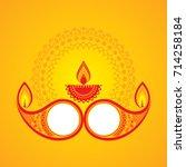 diwali utsav greeting or poster ... | Shutterstock .eps vector #714258184