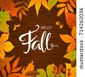 hello fall seasonal autumn... | Shutterstock .eps vector #714262036