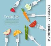 vegetables and fruits on forks. ... | Shutterstock .eps vector #714266038