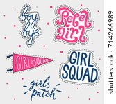 set of girl's patches. magical... | Shutterstock .eps vector #714266989