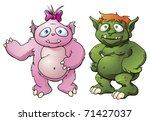 A couple of cute cartoon character monster mascots. Maybe a married couple? - stock vector