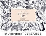 vector hand drawn banner. local ... | Shutterstock .eps vector #714273838