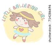sweet little baby ballerina... | Shutterstock .eps vector #714286696