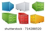 3d shipping cargo container set ... | Shutterstock .eps vector #714288520