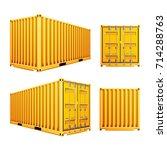 yellow 3d cargo container... | Shutterstock .eps vector #714288763
