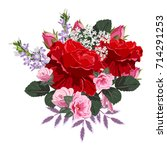 bouquet of red and pink roses.... | Shutterstock .eps vector #714291253