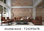 the interior design of lounge... | Shutterstock . vector #714295678