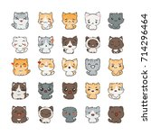 cute cartoon cats and dogs with ... | Shutterstock .eps vector #714296464