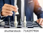 business man leader of a... | Shutterstock . vector #714297904