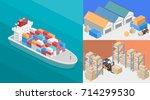 isometric interior of warehouse.... | Shutterstock .eps vector #714299530