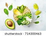 vegan  detox green buddha bowl... | Shutterstock . vector #714300463
