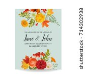 floral wedding invitation card... | Shutterstock .eps vector #714302938