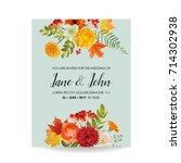floral wedding invitation card... | Shutterstock .eps vector #714302938