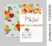 floral wedding invitation card... | Shutterstock .eps vector #714303040