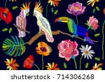 blooming paradise. seamless... | Shutterstock .eps vector #714306268