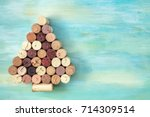 a christmas tree made of corks...   Shutterstock . vector #714309514