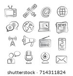 media doodle icons | Shutterstock . vector #714311824